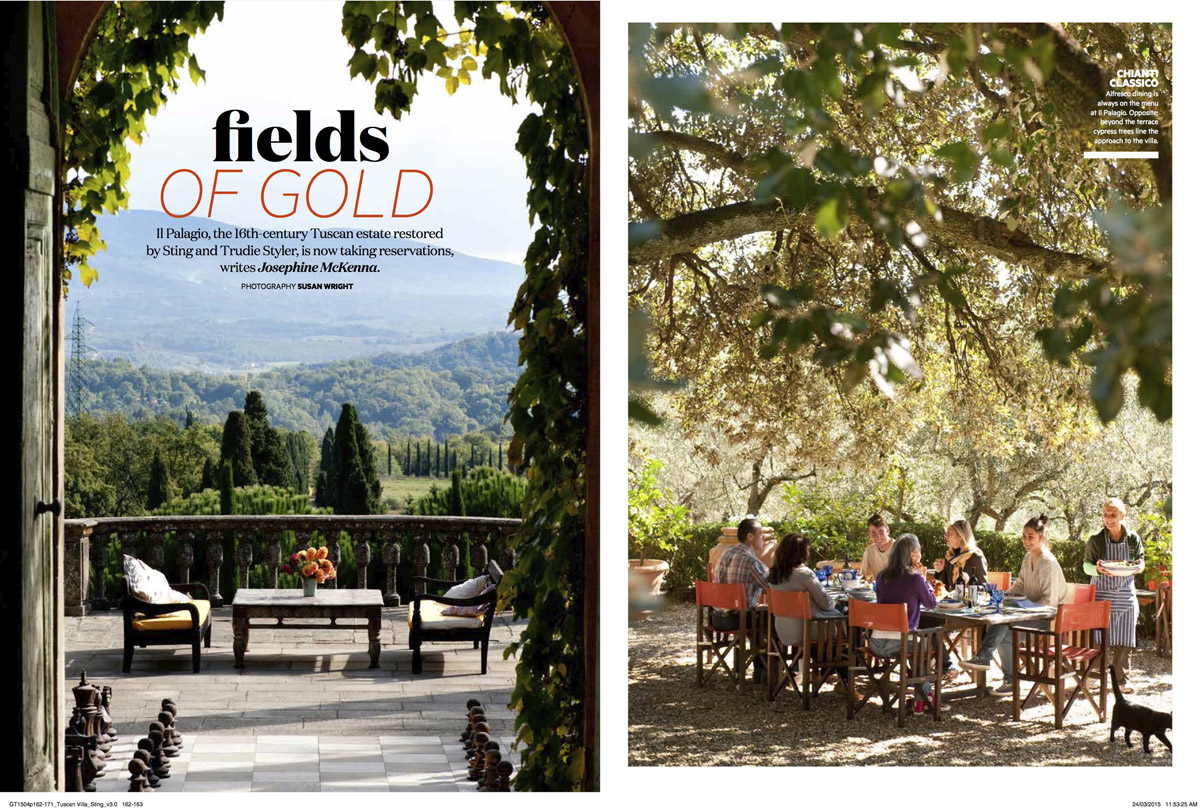 Sting and Trudie Styler's villa Il Palagio, Tuscany, Italy