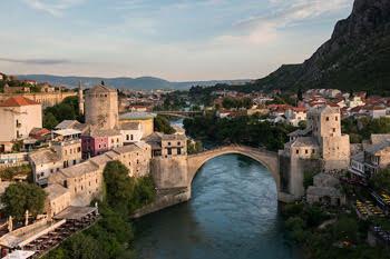 Stari Most Bridge and the River Neretva, Mostar, Bosnia Herzegovina